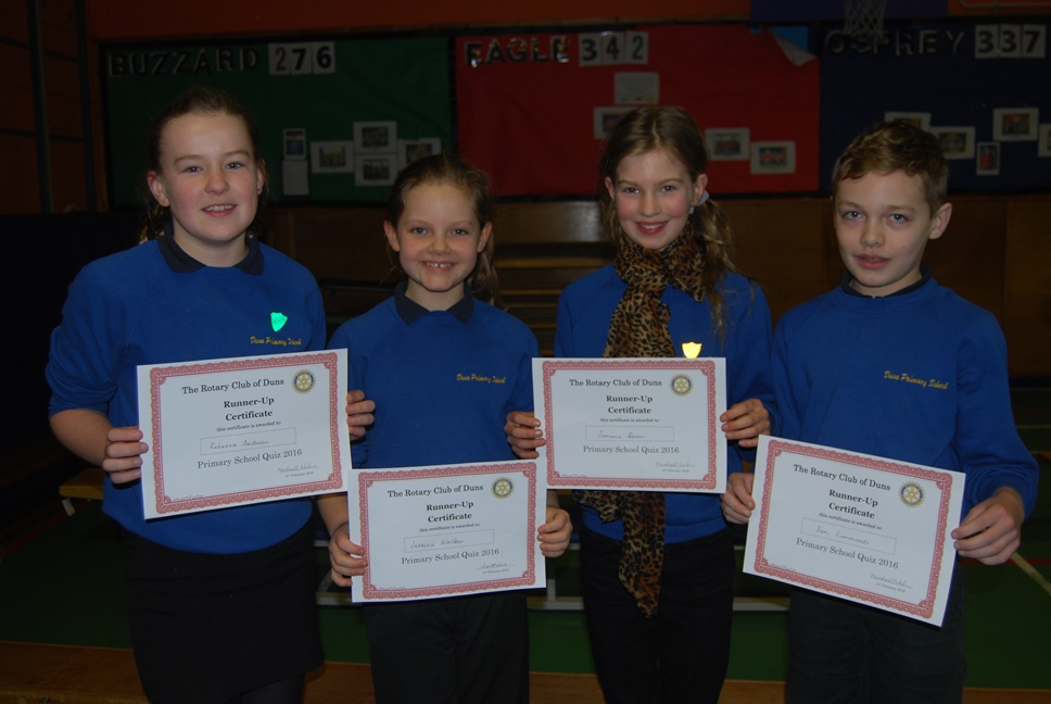 A team from P7 won the Rotary Club Primary School quiz. Well done to all 4 of them.